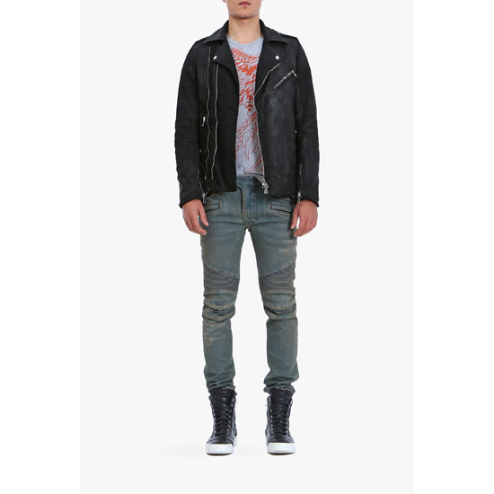 BALMAIN MEN WAXED COTTON BIKER JACKET Outlet Online