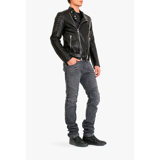 BALMAIN MEN QUILTED LEATHER BIKER JACKET Outlet Online