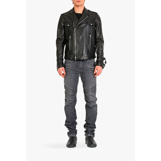 BALMAIN MEN LEATHER BIKER JACKET Outlet Online