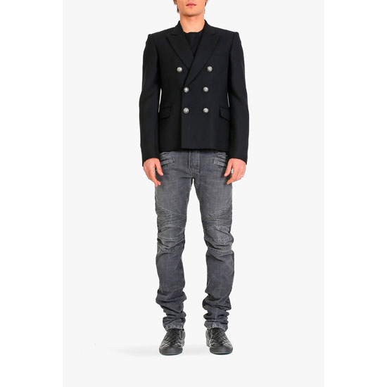 BALMAIN MEN SLIM-FIT WOOL DOUBLE-BREASTED BLAZER Outlet Online