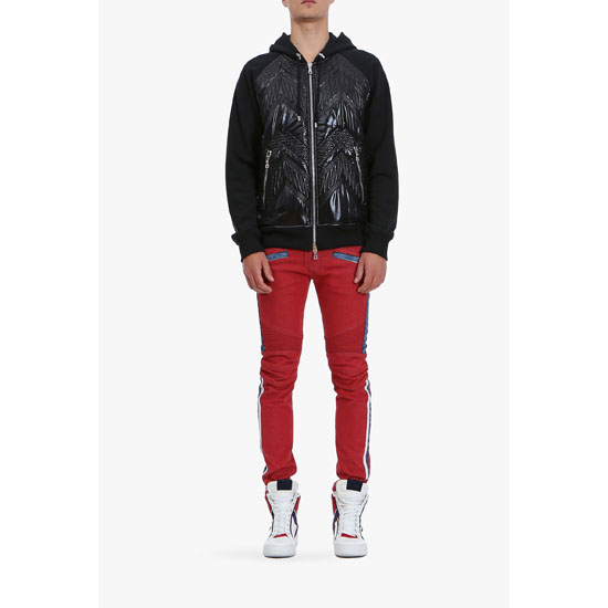 BALMAIN MEN HOODED PADDED NYLON AND COTTON SWEATER Outlet Online