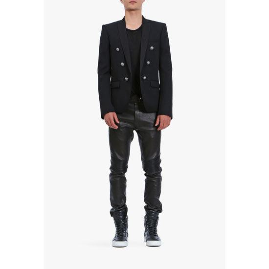BALMAIN MEN DOUBLE-BREASTED WOOL-TWILL BLAZER Outlet Online