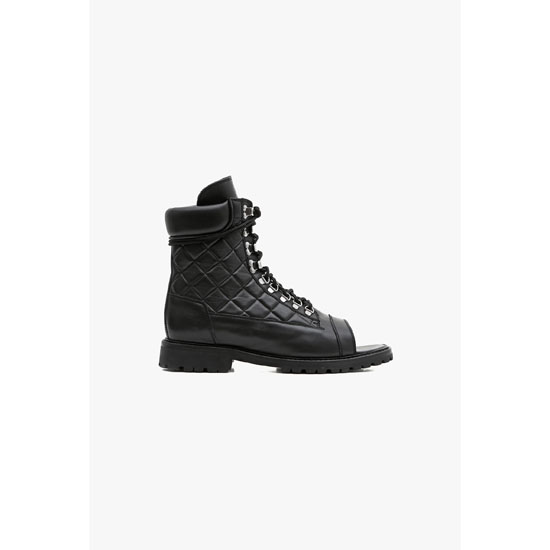 BALMAIN MEN OPEN-TOE QUILTED LEATHER LOW-BOOTS Outlet Online