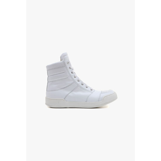 BALMAIN MEN PERFORATED LEATHER HIGH-TOP SNEAKERS Outlet Online