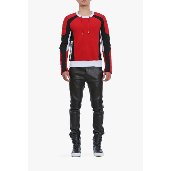 BALMAIN MEN PANELLED COTTON BIKER SWEATSHIRT Outlet Online