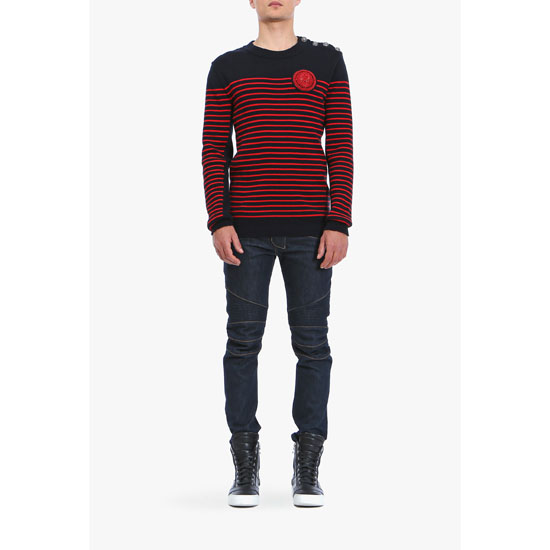 BALMAIN MEN BUTTON-EMBELLISHED STRIPED COTTON SWEATER WITH BADGE Outlet Online