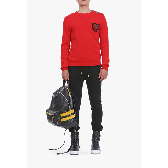 BALMAIN MEN BUTTON-EMBELLISHED COTTON SWEATER WITH BADGE Outlet Online