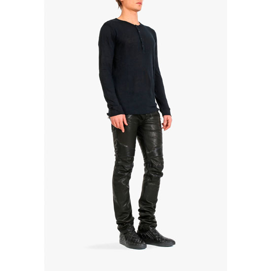 BALMAIN MEN LINEN HENLEY T-SHIRT Outlet Online