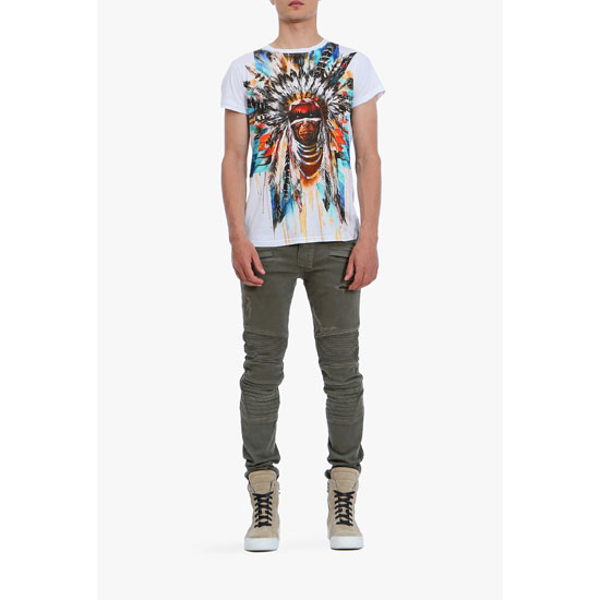 BALMAIN MEN MULTICOLOR AMERINDIAN PRINTED COTTON-JERSEY T-SHIRT Outlet Online