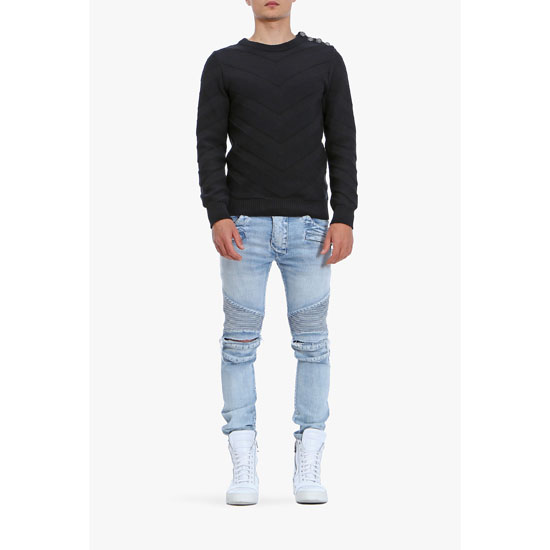 BALMAIN MEN BUTTON-EMBELLISHED STRIPED COTTON JACQUARD SWEATER Outlet Online