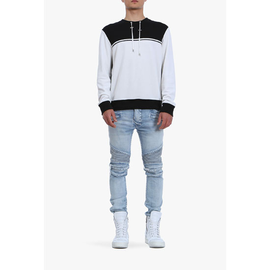 BALMAIN MEN CONTRASTED COTTON-JERSEY SWEATSHIRT Outlet Online