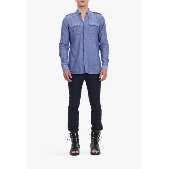 BALMAIN MEN MILITARY COTTON SHIRT Outlet Online