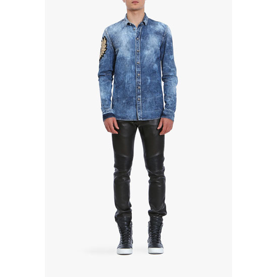 BALMAIN MEN WASHED COTTON-DENIM SHIRT Outlet Online