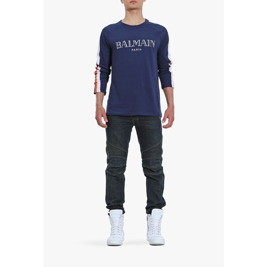 BALMAIN MEN LOGO PRINTED LONG-SLEEVED COTTON T-SHIRT Outlet Online