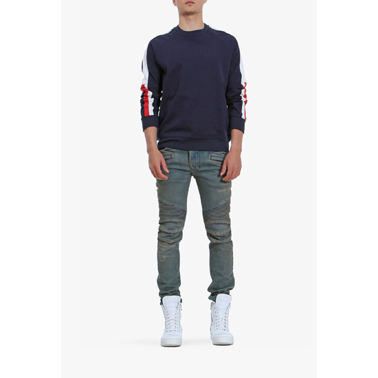 BALMAIN MEN STRIPED COTTON SWEATSHIRT Outlet Online