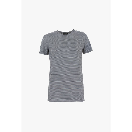 BALMAIN MEN BUTTON-EMBELLISHED STRIPED COTTON-JERSEY T-SHIRT Outlet Online