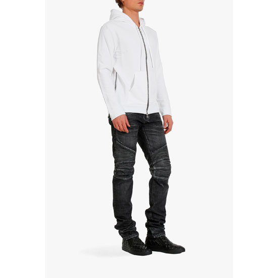 BALMAIN MEN ZIPPED SIDE COTTON-JERSEY HOODIE Outlet Online