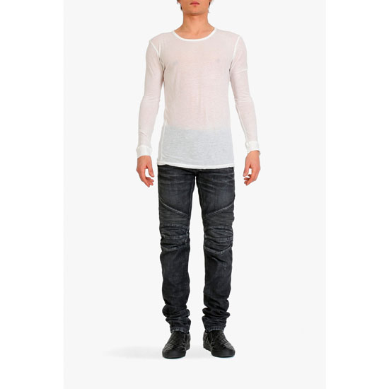 BALMAIN MEN LONG-SLEEVED COTTON T-SHIRT Outlet Online