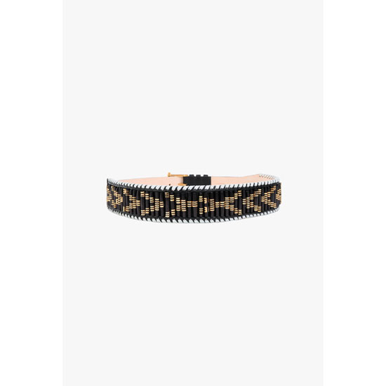 BALMAIN WOMEN LEATHER BELT EMBELLISHED WITH BLACK BEADS Outlet Online