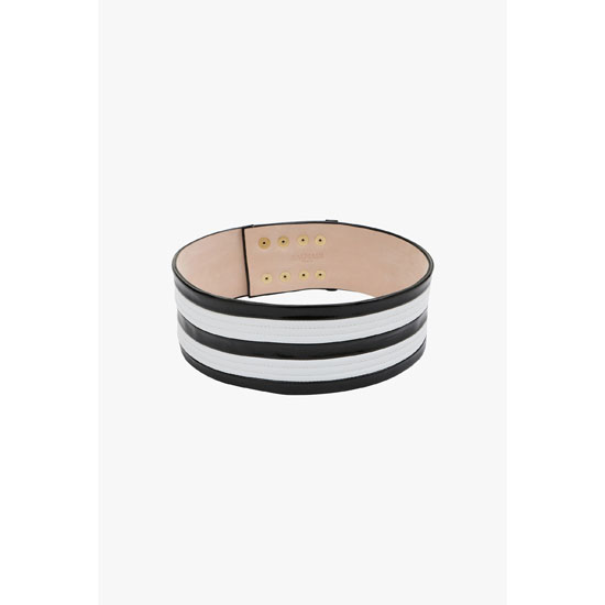 BALMAIN WOMEN TRICOLOR HIGH-WAISTED RIBBED LEATHER BELT Outlet Online