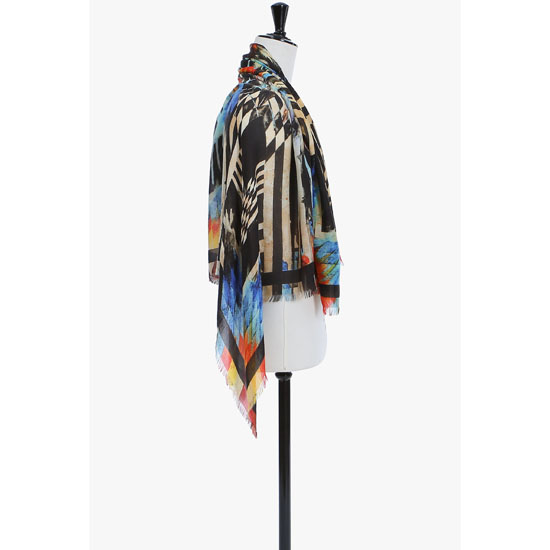 BALMAIN WOMEN INDIAN-PATTERNED MODAL AND CASHMERE SCARF Outlet Online