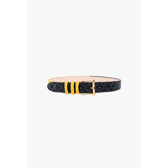 BALMAIN WOMEN CONTRASTED QUILTED LEATHER BELT Outlet Online