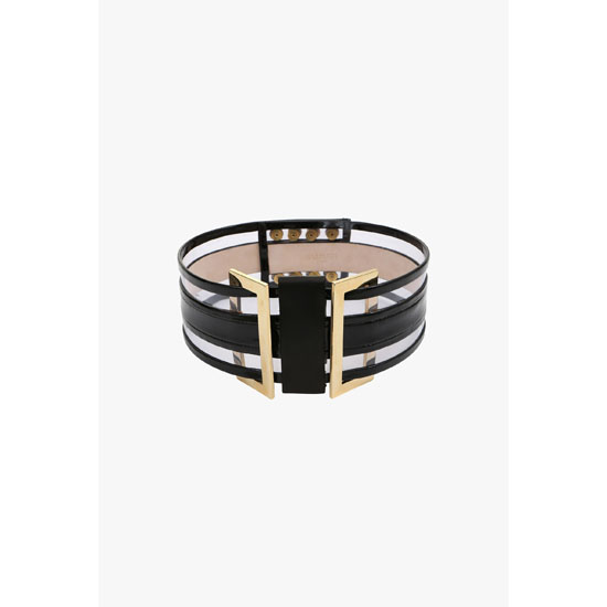 BALMAIN WOMEN HIGH-WAISTED LEATHER BELT WITH TRANSPARENT DETAILS Outlet Online