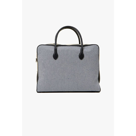 BALMAIN WOMEN NAVY LEATHER AND FABRIC PIERRE WEEK-END BAG Outlet Online