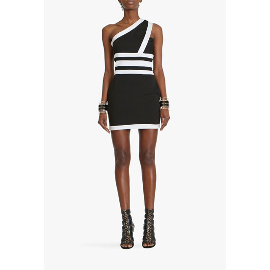 BALMAIN WOMEN ONE-SHOULDER COTTON BLEND MINI DRESS Outlet Online