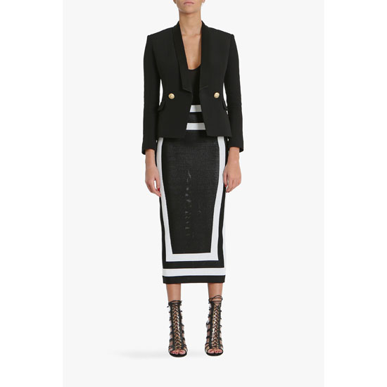 BALMAIN WOMEN TWO TONE HIGH-WAISTED VISCOSE KNIT PENCIL SKIRT Outlet Online
