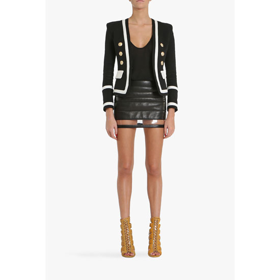 BALMAIN WOMEN SATIN LAMBSKIN MINI SKIRT WITH TRANSPARENT STRIPE Outlet Online