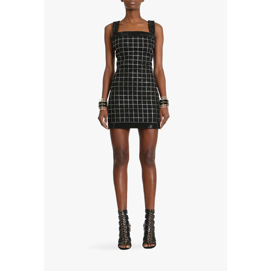 BALMAIN WOMEN STRETCH COTTON MINI DRESS WITH SPARKLES Outlet Online