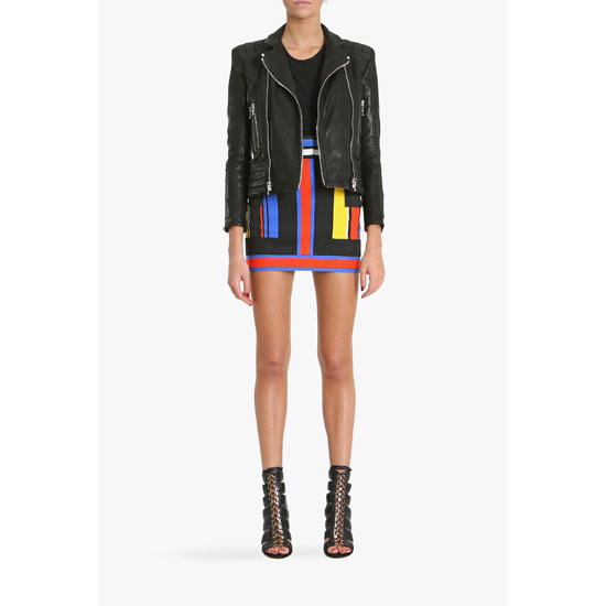 BALMAIN WOMEN MULTICOLOR PRINTED COTTON CANVAS MINI SKIRT Outlet Online
