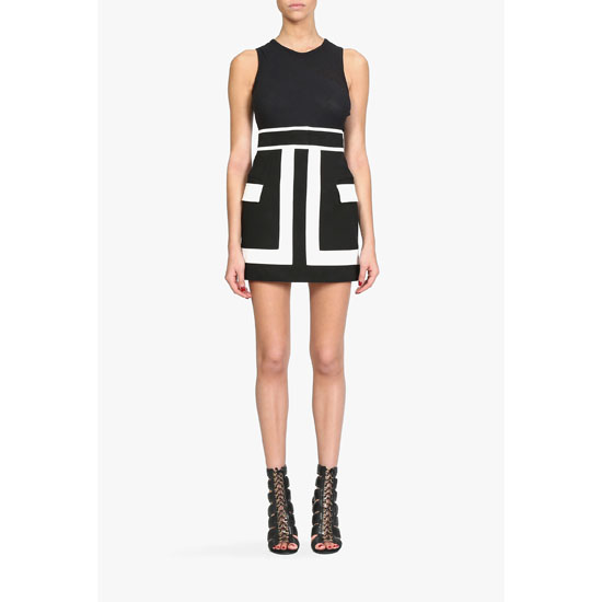 BALMAIN WOMEN TWO TONE PRINTED COTTON CANVAS MINI SKIRT Outlet Online