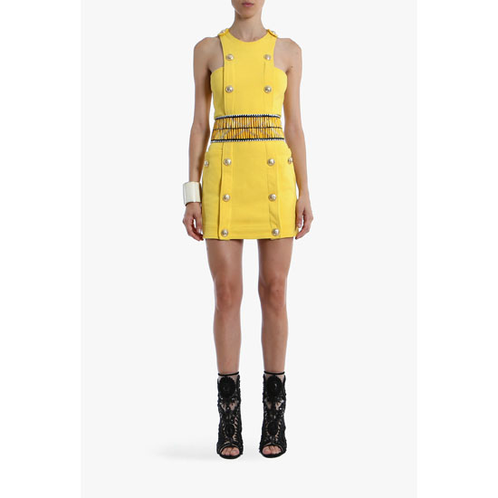 BALMAIN WOMEN COTTON-JERSEY MINI-DRESS WITH ENGRAVED BUTTONS Outlet Online