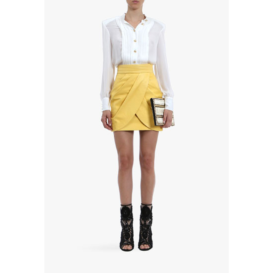 BALMAIN WOMEN DRAPED LEATHER MINI-SKIRT Outlet Online