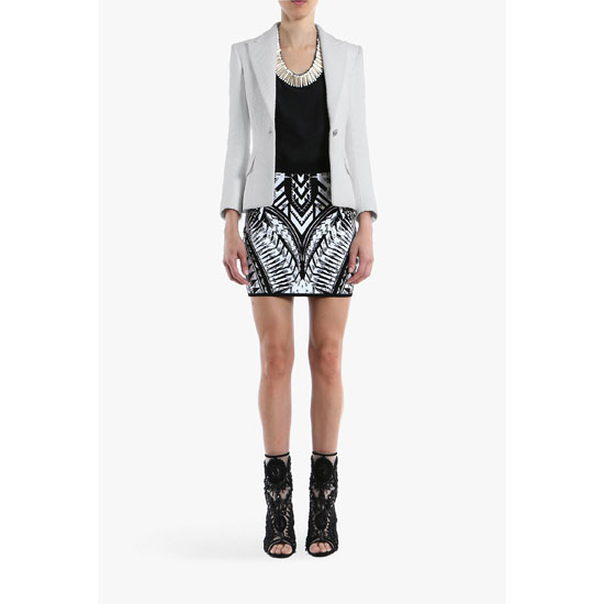BALMAIN WOMEN KNITTED PRINTED JACQUARD MINI-SKIRT Outlet Online