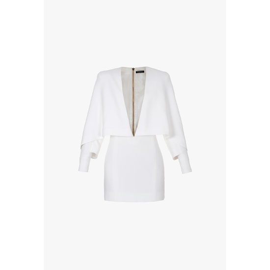 BALMAIN WOMEN PONCHO-INSPIRED CREPE AND VISCOSE MINI-DRESS Outlet Online
