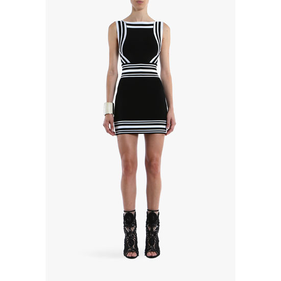 BALMAIN WOMEN CONTRASTED CREPE SLEEVELESS MINI-DRESS Outlet Online