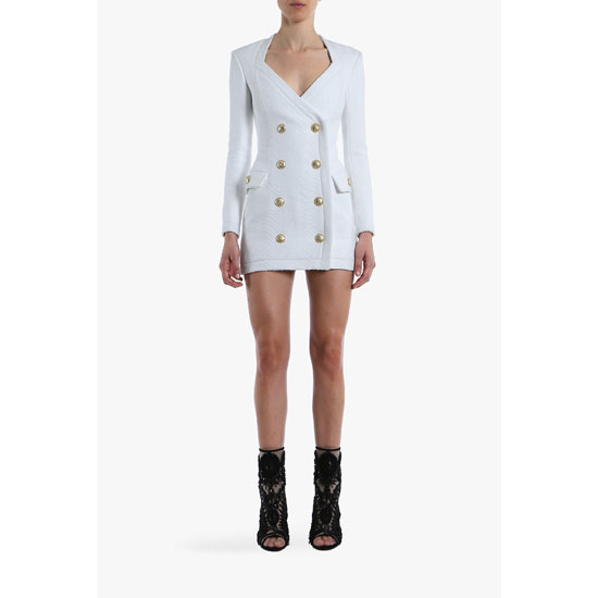 BALMAIN WOMEN COTTON-BLEND DOUBLE-BREASTED MINI-DRESS Outlet Online