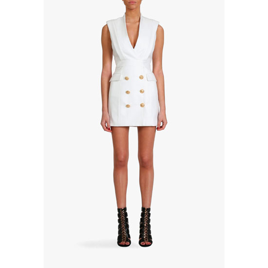 BALMAIN WOMEN SILK-BLEND TUXEDO MINI-DRESS Outlet Online