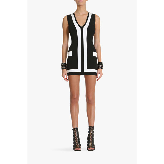 BALMAIN WOMEN TWO TONE STRETCH KNIT VISCOSE MINI DRESS Outlet Online