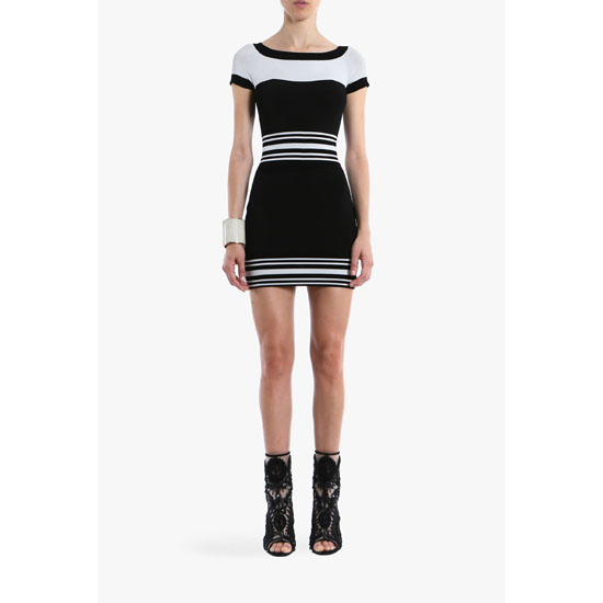 BALMAIN WOMEN CONTRASTED CREPE MINI-DRESS Outlet Online