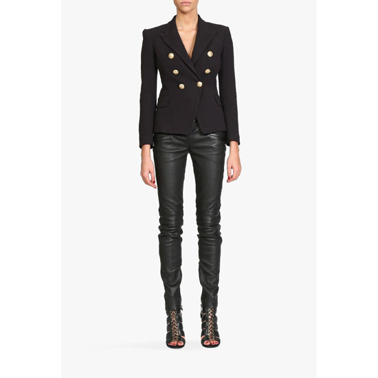 BALMAIN WOMEN RIBBED LEATHER BIKER PANTS Outlet Online
