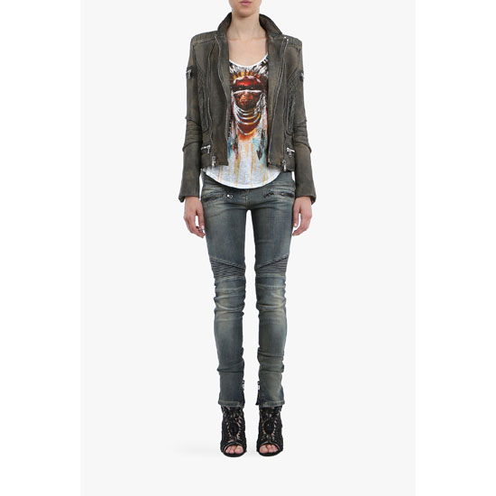 BALMAIN WOMEN WASHED STRETCH COTTON DENIM BIKER JEANS Outlet Online