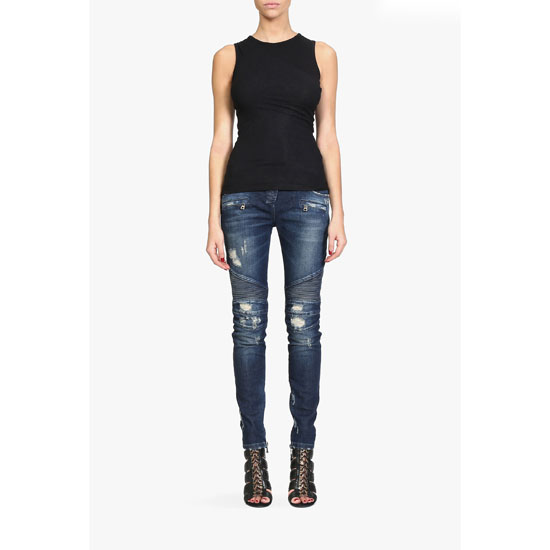 BALMAIN WOMEN TRASH DISTRESSED STRETCH COTTON DENIM BIKER JEANS Outlet Online