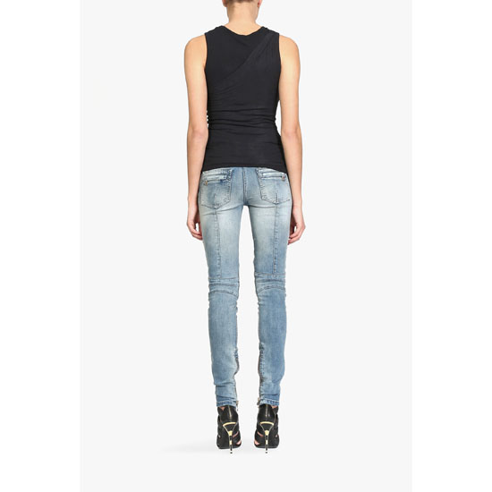 BALMAIN WOMEN TRASH DISTRESSED WASHED STRETCH COTTON DENIM BIKER JEANS Outlet Online