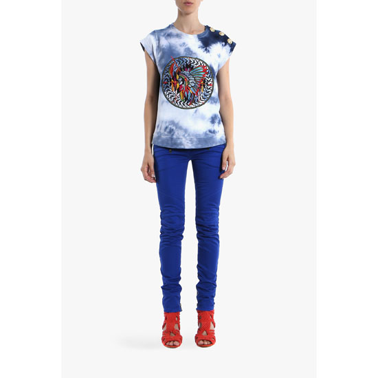 BALMAIN WOMEN STRETCH COTTON DENIM BIKER JEANS Outlet Online