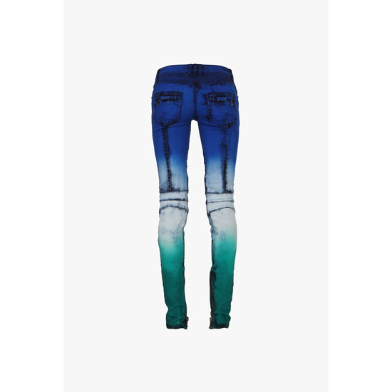 BALMAIN WOMEN TIE AND DYE STRETCH COTTON DENIM BIKER JEANS Outlet Online