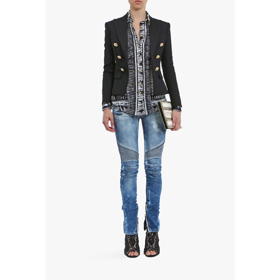 BALMAIN WOMEN WASHED STRETCH COTTON BIKER JEANS Outlet Online